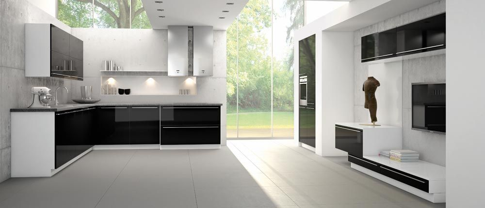 12-Colorful-and-Modern-Kitchen-Designs-From-Bauformat-black-and-white-kitchen-designs