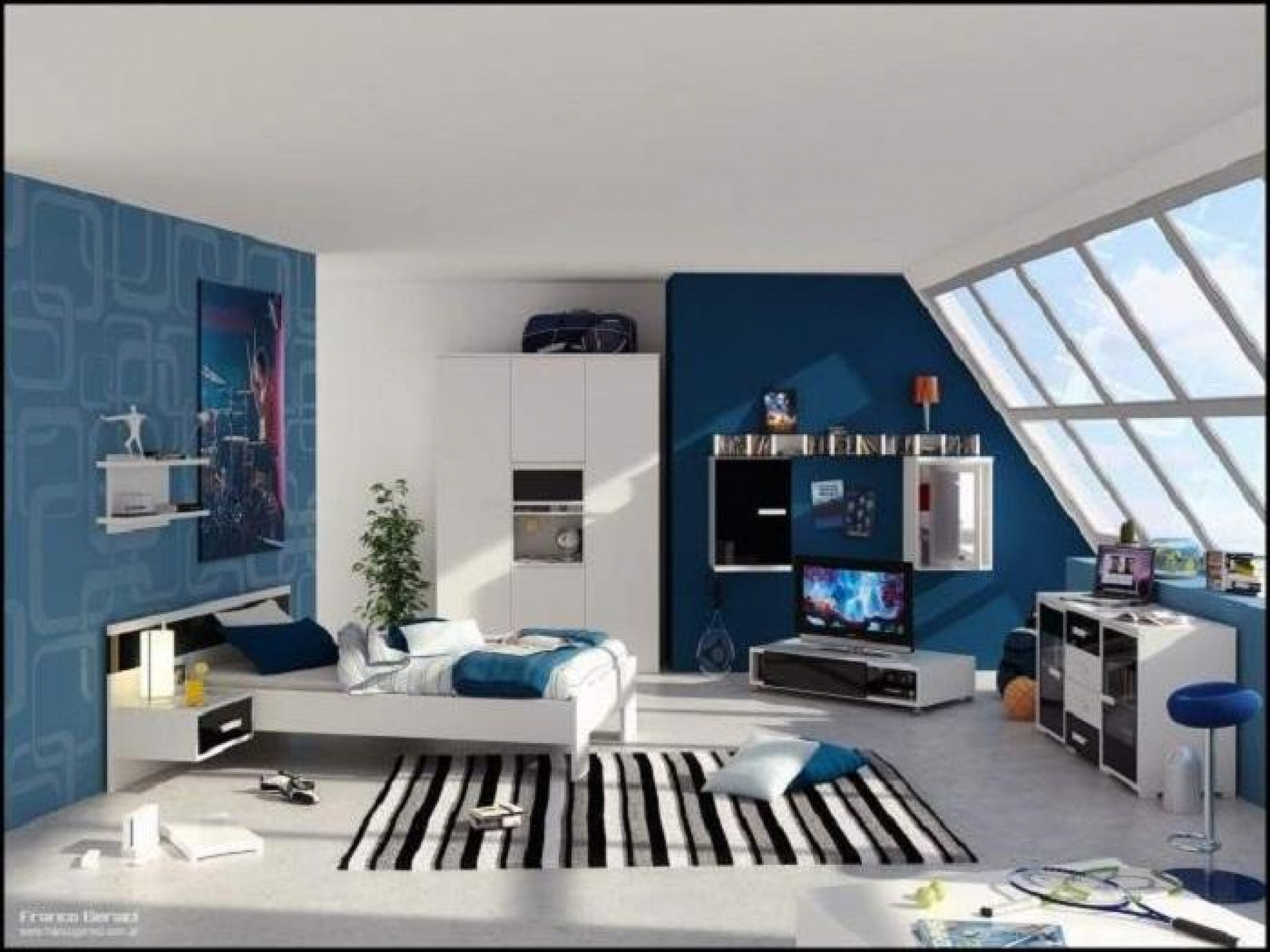 interior-design-white-and-blue-color-combination-of-living-room-cool-wall-paint-interior-designs-with-glass-dormer-windows-ceramic-flooring-tile-in-loft-bedroom-